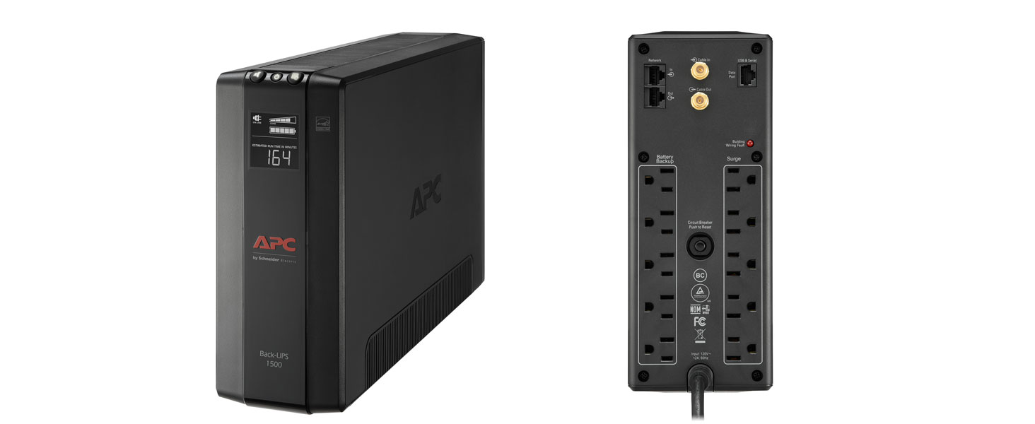 Front and back of the APC Back-UPS Pro Compact Tower