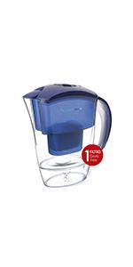 TM Electron TMJAR025BL Jarra filtrante Agua Compatible con Cartuchos, diseño Especial Nevera 2,5L