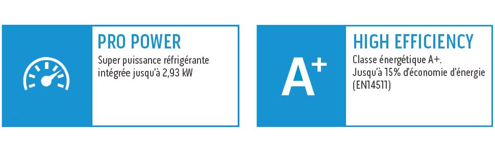 Classe énergétique A+. Super puissance réfrigérante intégrée jusqu'à 2,93 kW