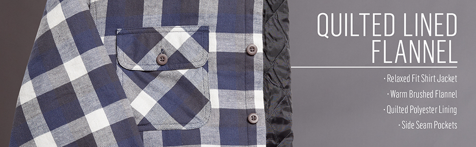 Authentics Long Sleeve Quilted Lined Flannel Shirt Jacket