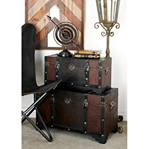 Deco 79 39408 Classic Old Time Leather N Wood Chest Trunk, Set of 3