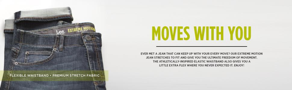 LEE Mens Modern Series Extreme Motion Slim Straight Leg Jean