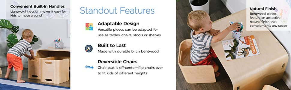 Sensational Ecr4Kids Bentwood Multipurpose Kids Table And Chair Set 3 Piece Adaptable Furniture Set Kids Learning Desk Certified And Safe No Assembly Gmtry Best Dining Table And Chair Ideas Images Gmtryco