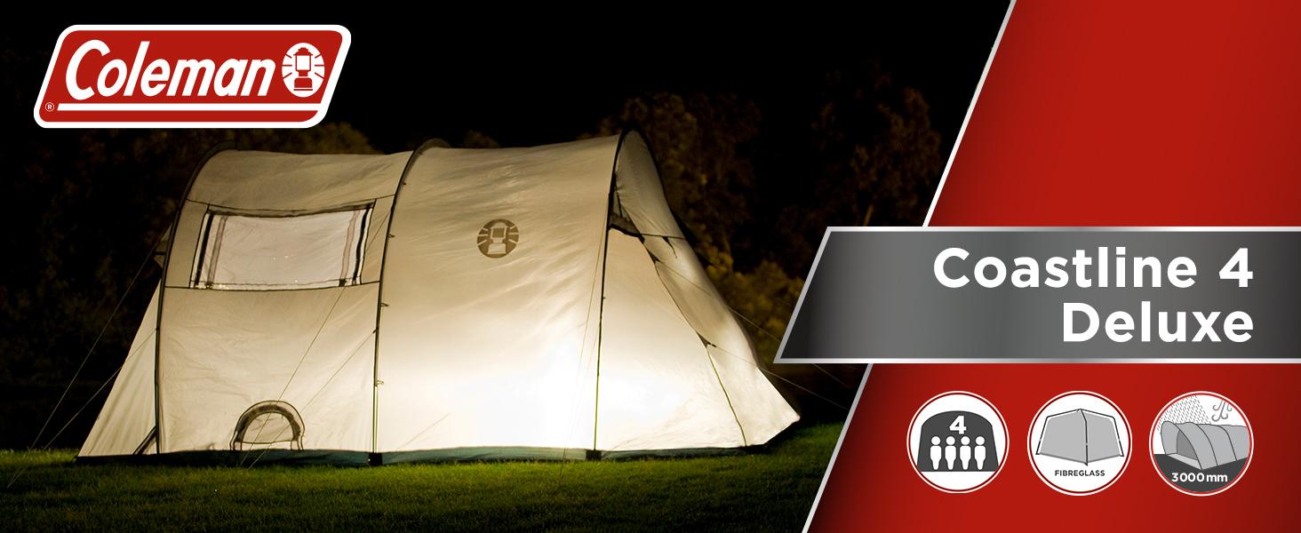 Coleman Coastline Tienda de campaña de túnes para Camping o Festivales, Acampada, Familiar, Impermeable hasta 3000 mm de Columna de Agua, Color Verde