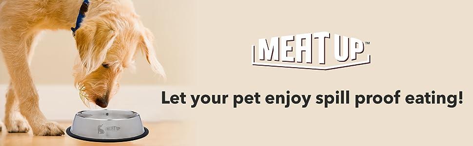Meat Up Stainless Steel Dog Feeding Bowl Medium (Buy 1 Get 1 Free), 700ml