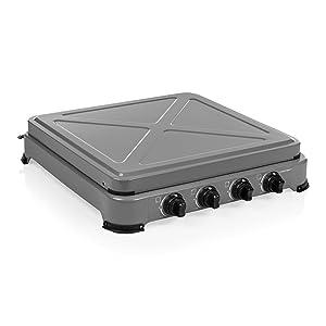 Campart GA-8404 Cocina de Camping a Gas Ontario – Seguridad térmica – 4 quemadores – 4 x 1500 W – Gris, Adultos Unisex