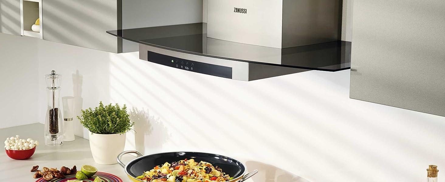 Zanussi ZHB92670XA Campana extractora de pared, 90 cm, 3 velocidades, Acero Inoxidable, Potencia hasta de 600 m3/h, Nivel de ruido 68 dB(A), Iluminación LED, Inox, Clase C: Amazon.es: Grandes electrodomésticos
