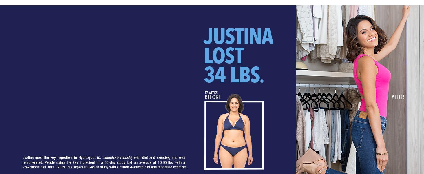 Justina lost 34 lbs.