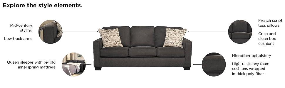 Fantastic Signature Design By Ashley Alenya Queen Size Sleeper Sofa W 2 Throw Pillows Charcoal Creativecarmelina Interior Chair Design Creativecarmelinacom