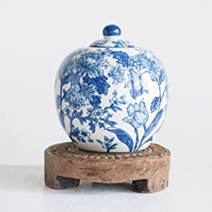 toile ivory urn ginger pot blue and white