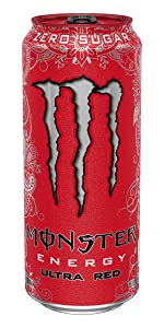 0 calories 0 sugar sugar-free lo carb diet red can Monster mixed berry energy drink Ultra Red