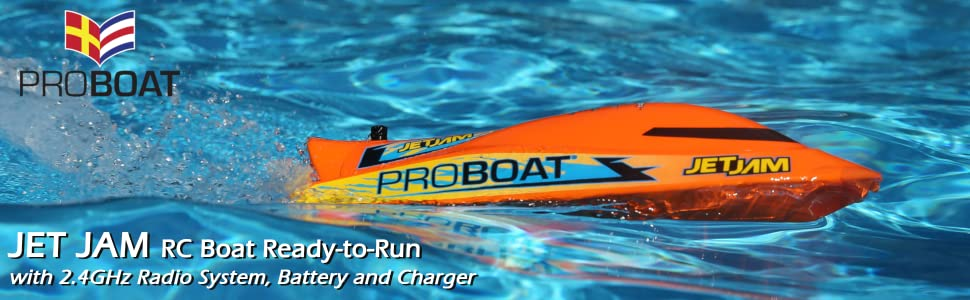 Pro Boat's Jet Jam radio control boat perfect for pool and lakes and comes with verything you need