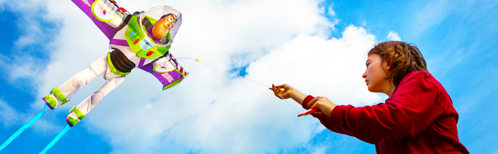 Wind N Sun - Bottom Banner with Girl flying the BuzzLightyear Kite