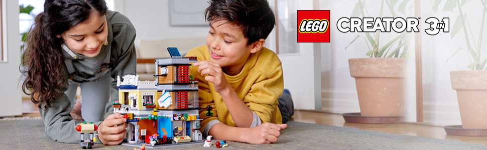LEGO 31097 Creator 3-in-1 Townhouse Pet Shop and Cafe Building Toy ...