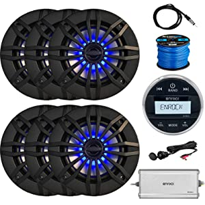 w// Blue LEDs Speaker Wire Radio Antenna Black Enrock EM856 Gauge-Style Multimedia Marine-Grade Receiver 4 x EnrockMarine 6.5 2-Way 180W Speakers Auxiliary Interface Mount