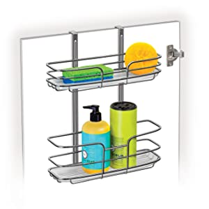 Chrome Tall Shelf Lynk Over Cabinet Door Organizer w//Molded Tray