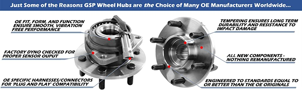 GSP Wheel Hubs OE Replacement Harness Tempered High Quality Connectors