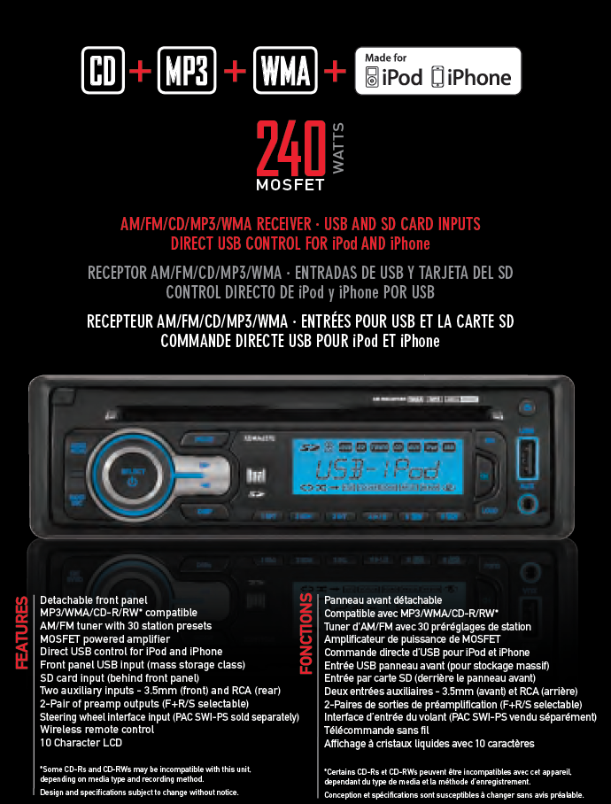 Dual Electronics XDMA6370 Multimedia Detachable MOSFET LCD Single DIN Car Stereo with Built-In CD, USB, SD Card, MP3 & WMA Player
