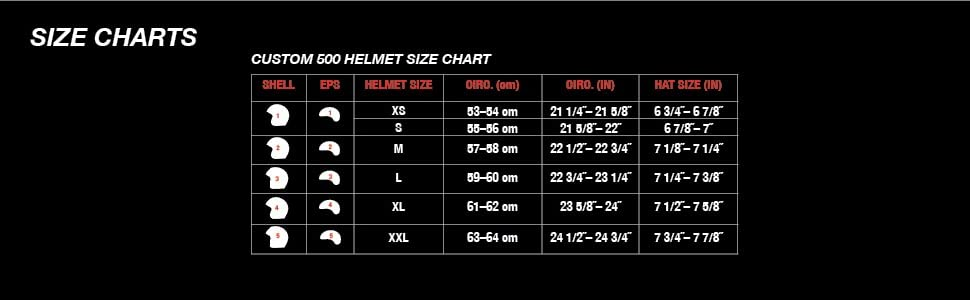 bell custom 500 motorcycle helmet size charts