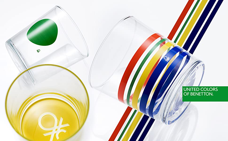 asustado sala Tractor  UNITED COLORS OF BENETTON. BE067 Set 4pcs vasos de agua 0,345l cristal logo  inferior colores Casa Benetton, Multicolor: Amazon.es: Hogar