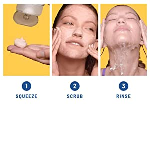 How to use: Squeeze, Scrub and Rinse