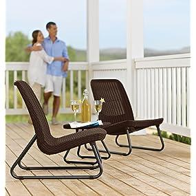 Keter plastic resin rio rattan patio seating set