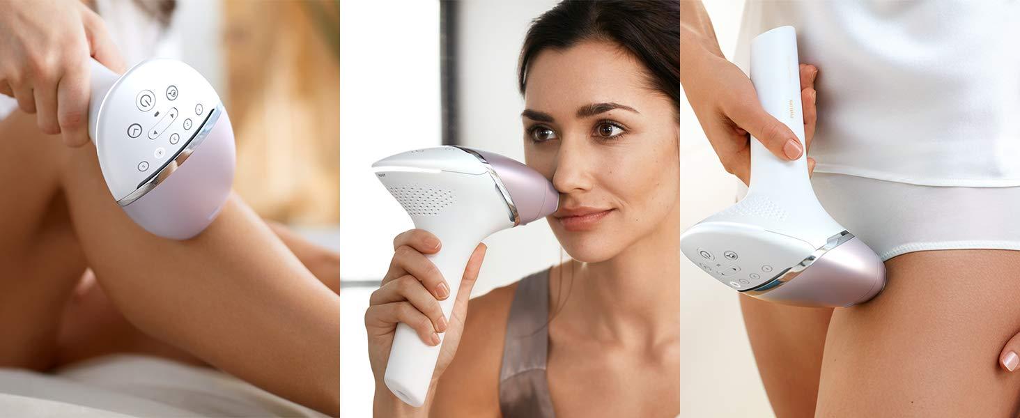 Philips Lumea Prestige BRI954/00 - Depiladora Luz Pulsada para la Depilación Permanente del Vello Visible en Casa con 3 Cabezales: Cuerpo, Cara y ...