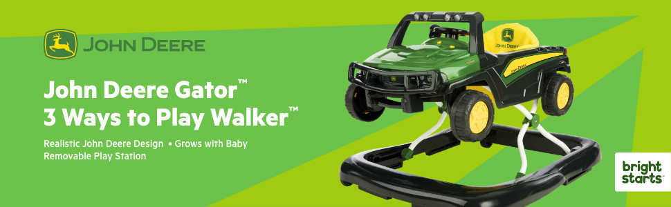 Green 3-in-1 John Deere Gator Baby Walker Sound Light Adjustable Height Folding