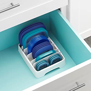 StoraLid Food Container Lid Organizer Small White Storage Organization Kitchen