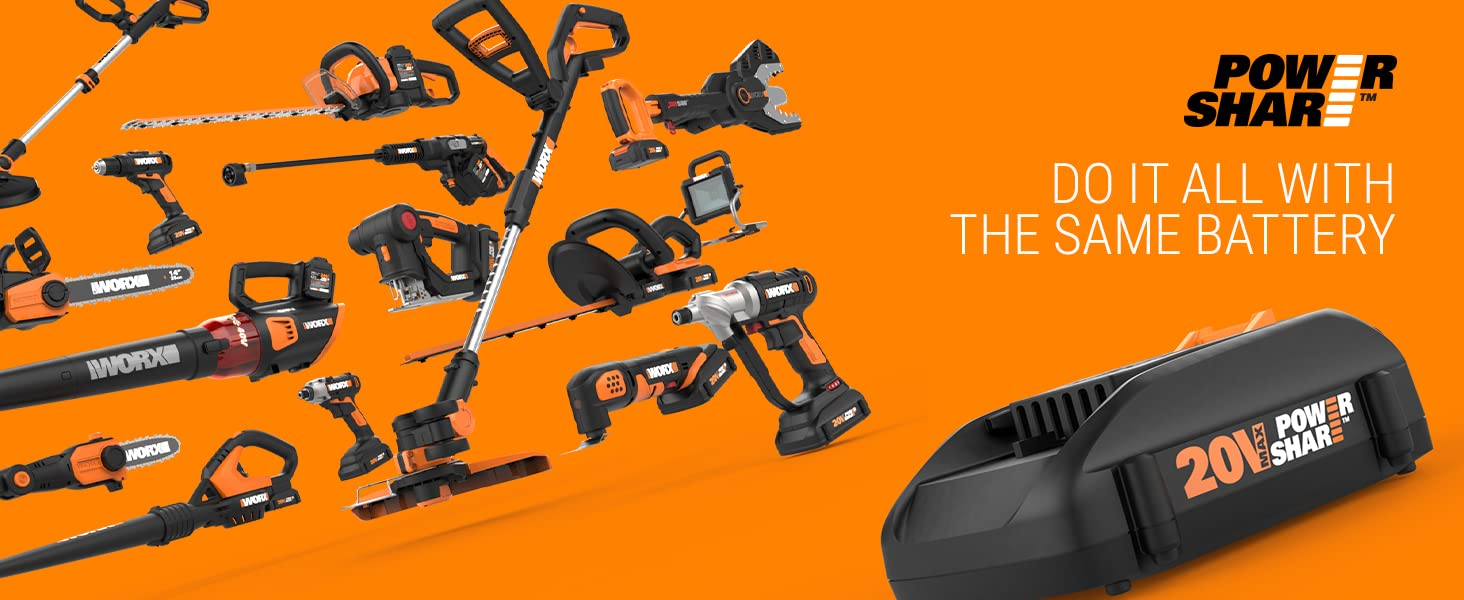 Do it all with the same battery, Powershare, Power share, 20V battery, 20V, Worx