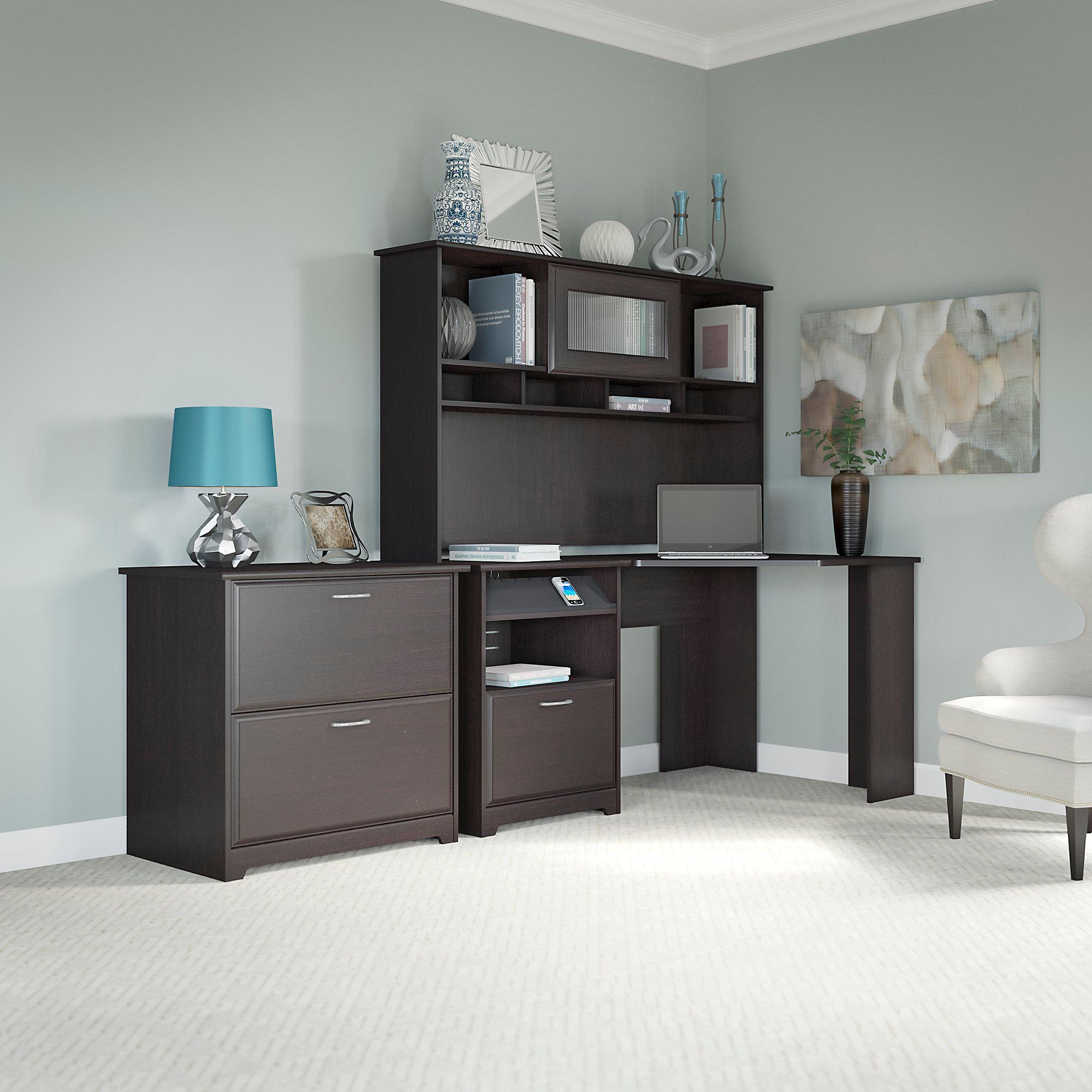 Cabot Corner Desk With Hutch And Lateral File Cabinet Kitchen Dining