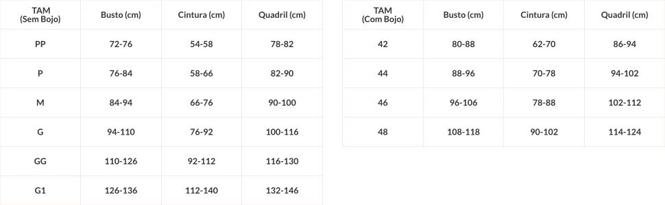Tabela de medidas modeladores.
