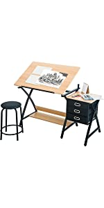 Harperu0026Bright Designs Folding Drafting Table Drawing Desk · Harperu0026Bright  Designs Drafting And Hobby Table Drawing Desk · ModernLuxe L Shape Home  Office ...