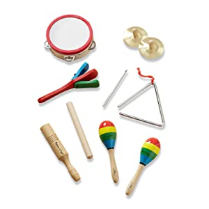 preschool;tambourine;cymbals;maracas;clacker;tone blocks;triangle