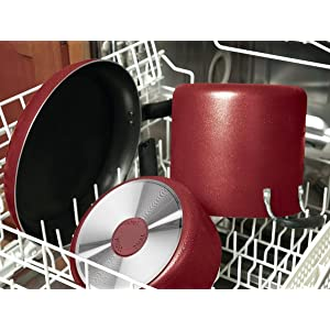 T-fal C112SC Signature Nonstick Expert Thermo-Spot Heat Indicator Dishwasher Safe Cookware Set, 12-Piece, Red - 2100095857