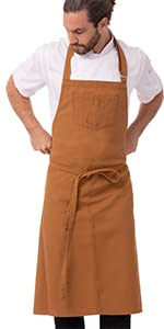 Chef Works Unisex Rockford Chefs Bib Apron, Nutmeg