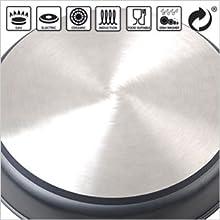 Wecook Ecostone Batería cocina inducción aluminio fundido Antiadherente  tapa cristal