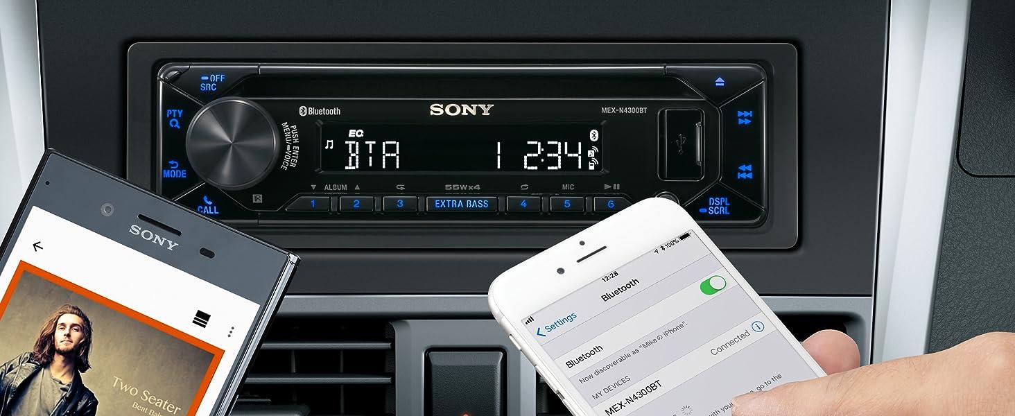 Sony Mex N4300bt Autoradio Mit Cd Dual Bluetooth Usb Und Aux Anschluss Freisprechen 4 X55 Watt Blau Elektronik