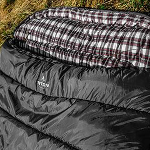 The most comfortable double sleeping bag available. The Fahrenheit Mammoth has a soft cotton liner.