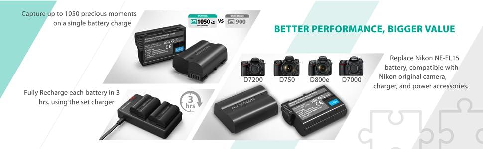d5200 d5600-en-el14 d5300 Caricabatteria F Nikon d5100 d5500 2 x Premium-Batteria