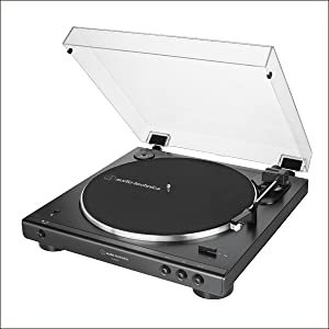Audio-Technica AT-LP60XBT-BK Fully Automatic Bluetooth Belt-Drive Stereo Turntable, Black, Hi-Fidelity, Plays 33 -1/3 and 45 RPM Vinyl Records, Dust ...