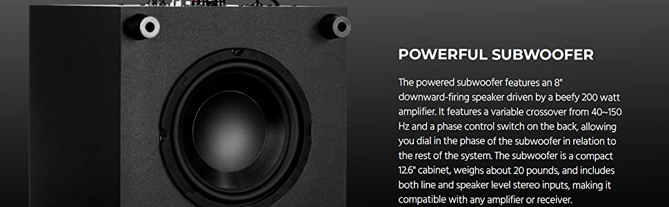 """The powered Subwoofer features an 8"""" downward-firing speaker driven by a beefy 200 watt amplifiier"""