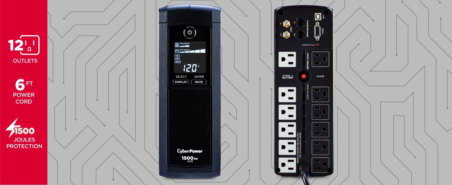 CyberPower CP1500AVRLCD Battery Backup UPS System - Hot Spots