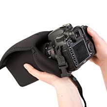 Insert your Canon, Nikon or other DSLR or mirrorless camera into the pouch