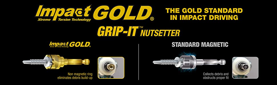 impact gold extreme torison technology grip-it nutsetter magnetic ring