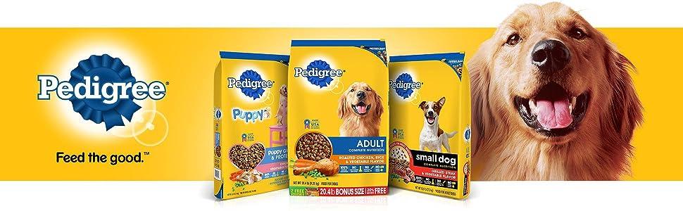 Pedigree Dry Dog Food, Feed the Good, Kibble, Crunchy, Hard, Large Bag, Small Bag, Bagged, Active