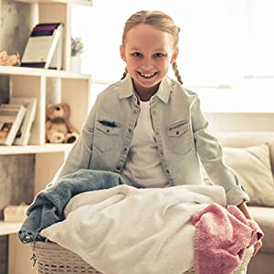 kids laundry girl with hamper