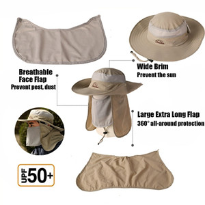 Sun Hat Wide Brim Packable Fishing Hat with Neck Flap Jeff /& Aimy Unisex Outdoor UPF 50