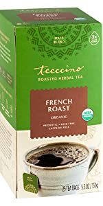 Teeccino French Roast Herbal Tea made with roasted ramon seeds is a caffeine-free coffee substitute