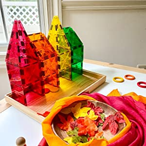 Color sorting fall theme objects into Magna-Tiles boxes